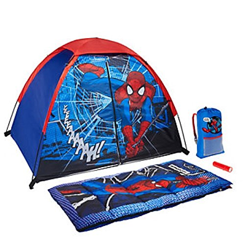 (Marvel Ultimate Spiderman 4 Piece Kids Camp Kit - Indoor / Outdoor Play Tent, Sleeping Bag, Carry Sack & Flashlight)