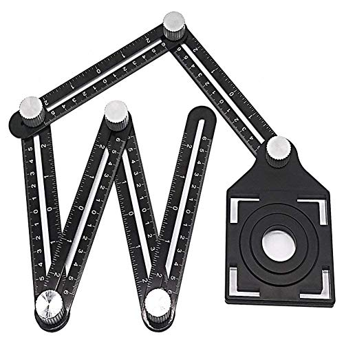Multi-Function Ruler, Aluminum Alloy Multi Angle Measuring Ruler, Foldable Angleizer Angle Ruler Template Tool for Builders, Craftsmen, Carpenters, Handymen (Multi Angle)