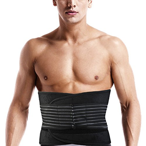(CFR Pro Sport Waist Support Lumbar Trainer Adjustable & Compression Trimmer Double Pull Stabilizing Lumbar Lower with Spring Stays for Herniated Disc,Sciatica,Scoliosis,Black,Small)