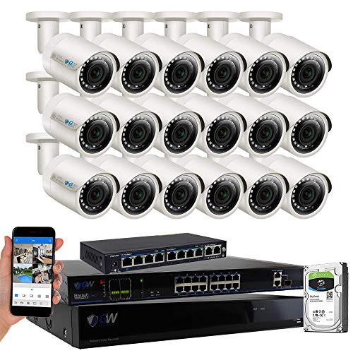 - GW High End 32 Channel 4K POE NVR System (18) 5MP IP Security Bullet Surveillance Cameras with 5TB Hard Drive, Motion Detection, Live-View Recording, Wall Mount, 2-Year Warranty - Best CCTV System