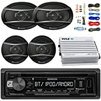 Kenwood KDCBT21 Car Bluetooth Radio USB AUX CD Player Receiver - Bundle With 2x TSA1676R 6.5 3-Way Car Audio Speakers - 2x 6.5-6.75 4-Way Stereo Speaker + 4-Channel Amplifier + Amp Kit