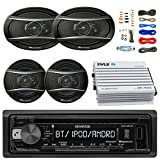 Kenwood KDCBT21 Car Bluetooth Radio USB AUX CD Player Receiver - Bundle With 2x TSA1676R 6.5'' 3-Way Car Audio Speakers - 2x 6.5''-6.75'' 4-Way Stereo Speaker + 4-Channel Amplifier + Amp Kit