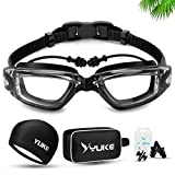 Professional Swimming Goggles Set - Adjustable Swimming Goggles +No Leaking Swimming Cap + Nose Clip + Ear Plugs+ Bag, Crystal Clear Comfortable Goggles Anti Fog UV Protection for Men Women Youth Kid