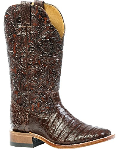 Boulet Kvinna 3-delat Choklad Kajman Blommig Cowgirl Boot Fyrkantig Tå - 4508 Choklad