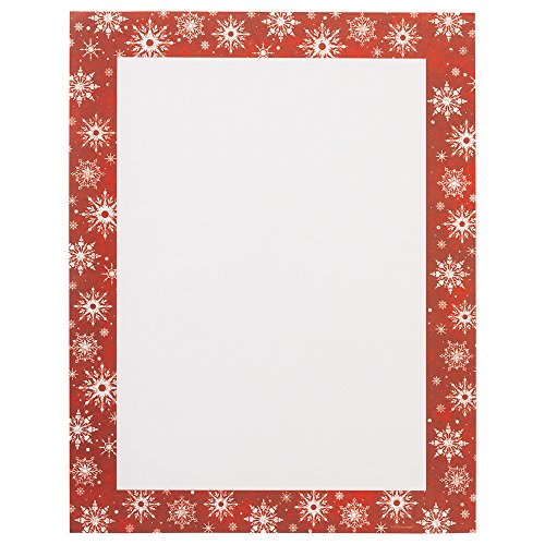 JAM PAPER Christmas 28lb Paper - 8.5 x 11 Letter - Red Snowflake Border - 80 Sheets/Pack
