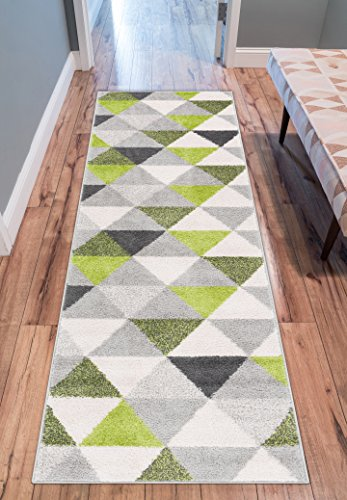 Isometry Green & Grey Modern Geometric Triangle Pattern Area Rug Soft Shed Free 2 x 7 (2' x 7'3