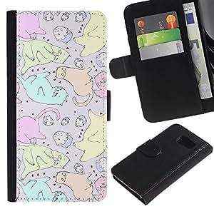 All Phone Most Case / Oferta Especial Cáscara Funda de cuero Monedero Cubierta de proteccion Caso / Wallet Case for Samsung Galaxy S6 // Cats Cupcake Art Colorful Drawing