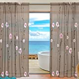 SAVSV Window Sheer Curtains Panels Voile Drapes Morden Purple Floral Design 55'' W x 78'' L 2 Panels Great For Living Room Bedroom Girl's Room