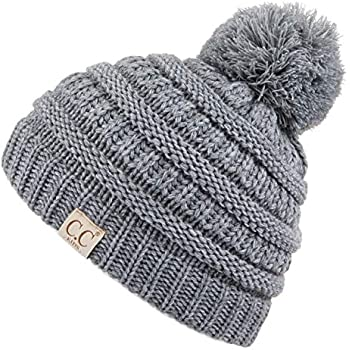 85ac7b1c357 C.C Kids Beanie Ages 2-7 Warm Chunky Thick Stretchy Knit Slouch Beanie  Skull Kids Hat with Pom (YJ-847-POM) (LtMelGrey)