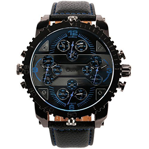 OULM TOP SALE Men's Fashion Quartz Wrist Watch Leather Strap 4 Time Display Huge Case Japan Movement Water resistant + Gift Box