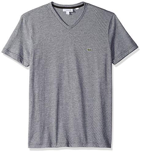 Stripe Fine Short (Lacoste Men's Fine Stripe Short Sleeve T-Shirt, TH6810, Eclipse Blue Chine/White, 4X-Large)