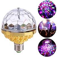FEDBNET Bombilla LED de escenario RGB de 6W, E27 Bombilla giratoria de luz de bola de discoteca de cristal con luces de…