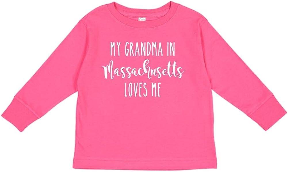 My Grandma in Massachusetts Loves Me Toddler//Kids Long Sleeve T-Shirt