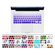 """HRH Gradient Purple Ombre Keyboard Cover Silicone Skin for MacBook Air 13 and MacBook Pro 13"""" 15"""" 17"""" (with or w/out Retina,Not Fit 2016 Macbook Pro 13 15 with/without Touch Bar) US Layout"""