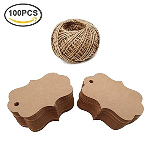 Giveet 100 PCS Kraft Paper Gift Tags with Free Cut String, Cute Candy Box Favor Hang Tags, Wedding Favor Thank You Cards, Christmas Favor Party Supply Blank Cards with 30M Jute - Price Printed Gift Boxes