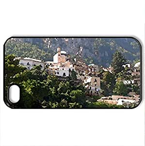 Beautiful Positano Italy - Case Cover for iPhone 4 and 4s (Houses Series, Watercolor style, Black)