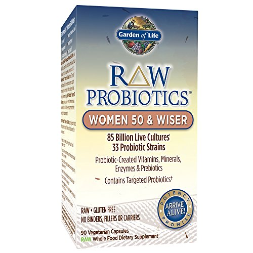 - Garden of Life - RAW Probiotics Women 50 & Wiser - Acidophilus Live Cultures - Probiotic-Created Vitamins, Minerals, Enzymes and Prebiotics - Gluten Free - 90 Vegetarian Capsules