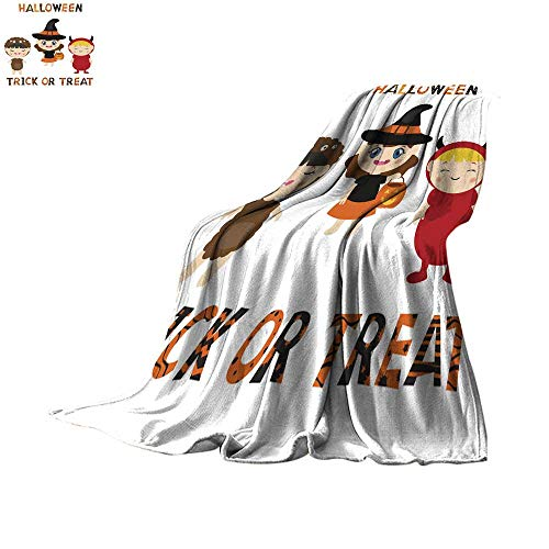 WinfreyDecor Lightweight All-Season Blanket Set of Characters for Halloween in Cartoon Style Throw Blanket 70
