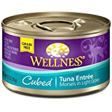 Wellness Natural Canned Grain Free Wet Cat Food, Cubed Tuna, 3-Ounce Can (Pack of 24)