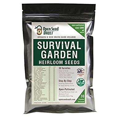 11,000 Non GMO Heirloom Vegetable Seeds Survival Garden 30 Variety Pack