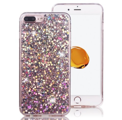 for iPhone X 8 7 6 6S Plus Pink Glitter Bling Sparkle Cute Protective Phone Case Cover (Full Glitter, iPhone 8 Plus)