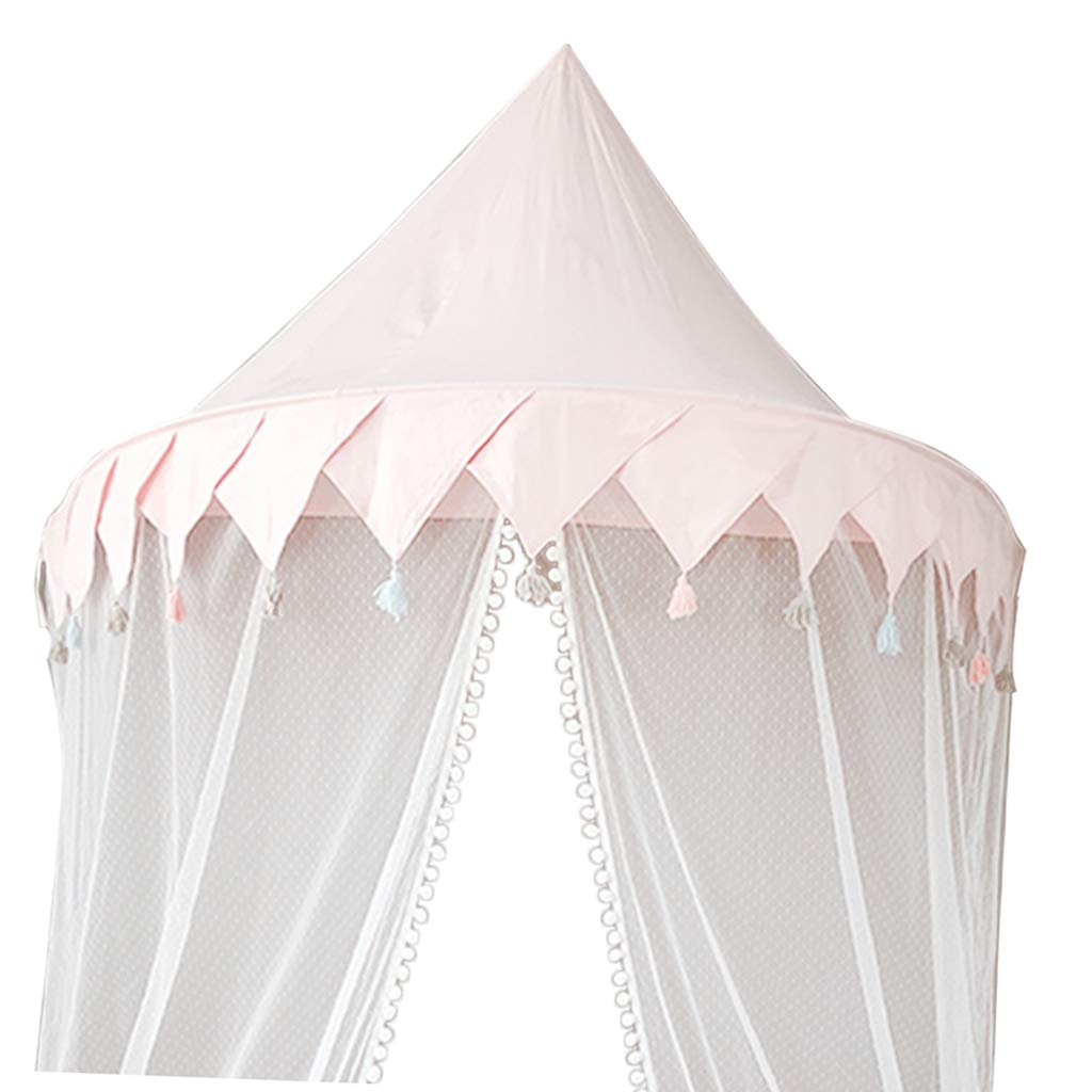 Fityle Princess Girl Playhouse Kids Bed Canopy with Mosquito Netting Hanging Play Tent Reading Corner -L -Pink