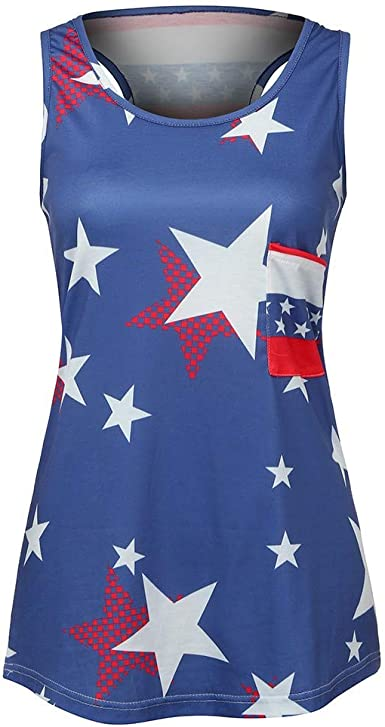 Tee Hunt Tie-Dye American Flag Tank Top 4th of July Stars and Stripes