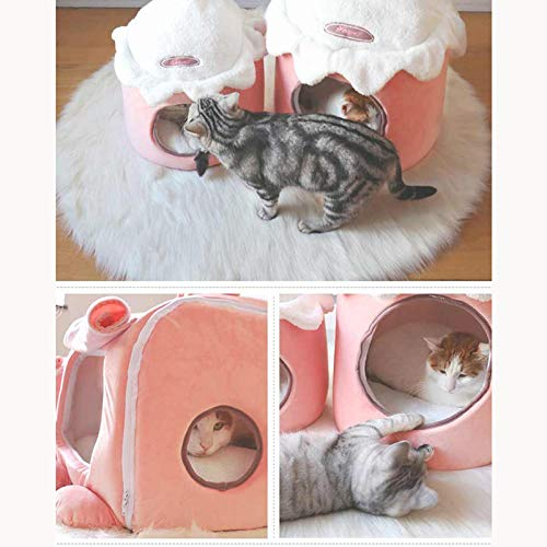Byx- Pet Nest - Pet Cat Litter Kennel Cute Winter Winter Winter Lettiera per Gatti Closed Four Seasons Summer Comoda e Traspirante Cat Sleeping Bag Borsa Yurt Cat Tent -Cuscino per Animali 9f370a