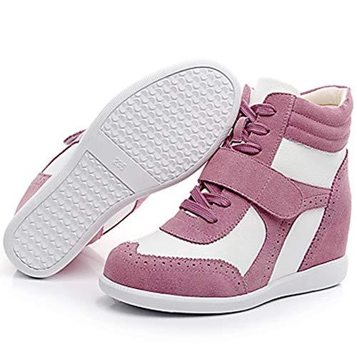 Pink TTSHOES Pelle White Tonda Scarpe UK6 Comoda Autunno EU39 Bianco Donna E Marrone Sneakers Zeppa Punta Rosa Blue Stivali Per US8 CN39 Inverno 4qrPn4SxUW