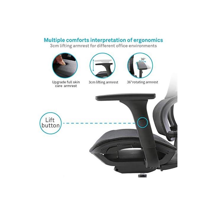 51rw6B j51L 【Soporte lumbar inteligente】 El soporte lumbar único puede detectar de manera inteligente la gravedad y adaptarse perfectamente a su columna vertebral, ajustar el soporte de la cintura, corregir las vértebras lumbares y la pelvis, aliviar la fatiga y el dolor de su lumbar. 【Apoyabrazos 3D】 Esta silla de oficina está diseñada con apoyabrazos multifunción 3D. El reposabrazos 3D puede subir y bajar, adelante y atrás, ajuste de rotación. Proporcionan un soporte cómodo para los brazos con diversas posturas sentadas, maximizando la satisfacción de diversas necesidades. 【Malla transpirable】 El respaldo y el cojín del asiento están hechos de malla transpirable, que promueve la circulación de aire y no suda después del sedentarismo. Le permite experimentar una posición sentada cómoda y transpirable mientras se concentra y se relaja.