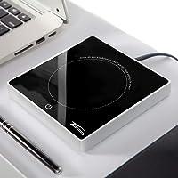 zoiibuy calentador calentador calentador de taza taza de café y bebidas Warmer impermeable Placa con calentador eléctrico de vidrio (110V -120V? 18W) para uso Home & Office (1.4M Wire)