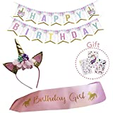 lofitall Unicorn Birthday Girl Set of Gold Glitter Unicorn Headband and Pink Satin Sash for Girls, Happy Birthday Banner + 3 Sheets Unicorn Tattoos, Unicorn Party Supplies, Favors and Decorations.