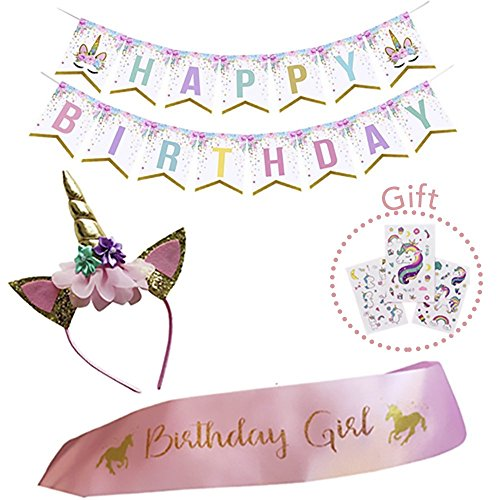Unicorn Birthday Girl Set of Gold Glitter Unicorn Headband and Pink Satin Sash for Girls, Happy Birthday Banner + 3 Sheets Unicorn Tattoos, Unicorn Party Supplies, Favors and Decorations.(ELISTORE)