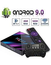 Android 9.0 TV Box H96 MAX con Dual-WiFi 2.4GHz / 5GHz 【2GB RAM 16GB ROM】 RK3318 Soporte de Cuatro núcleos 4K Full HD BT 4.1 USB 3.0 H.265 Pantalla LED Digital Tiempo Smart TV Box