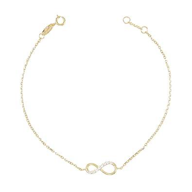 576aa8a1d06 L Atelier d Azur - Bracelet Femme Or Jaune Véritable - Motif Infini Pavé