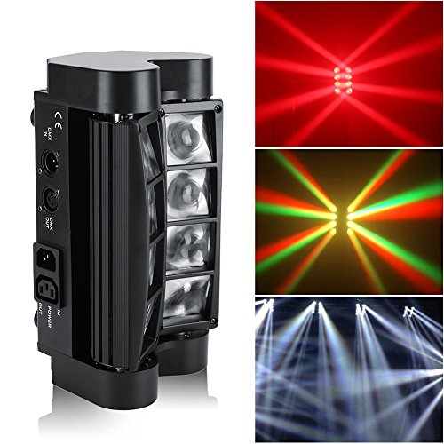 Cocoarm 2pcs Spider Moving Head DJ light,LED RGBW 8x3W Head Moving Stage Beam Light DMX512 Disco Party Effect Lights