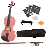 Mendini 1/8 MV-Pink Solid Wood Violin with Hard Case, Shoulder Rest, Bow, Rosin and Extra Strings