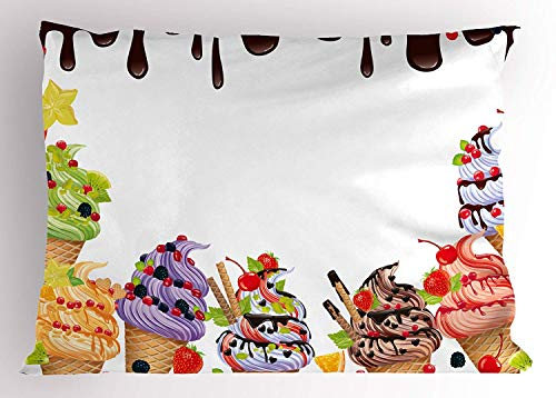 K0k2t0 Sweet Decor Pillow Sham, Ice Cream Background with Chocolate and Cherries Vanilla Waffles Artisan Food Design, Decorative Standard Queen Size Printed Pillowcase, 30 X 20 inches, Multi