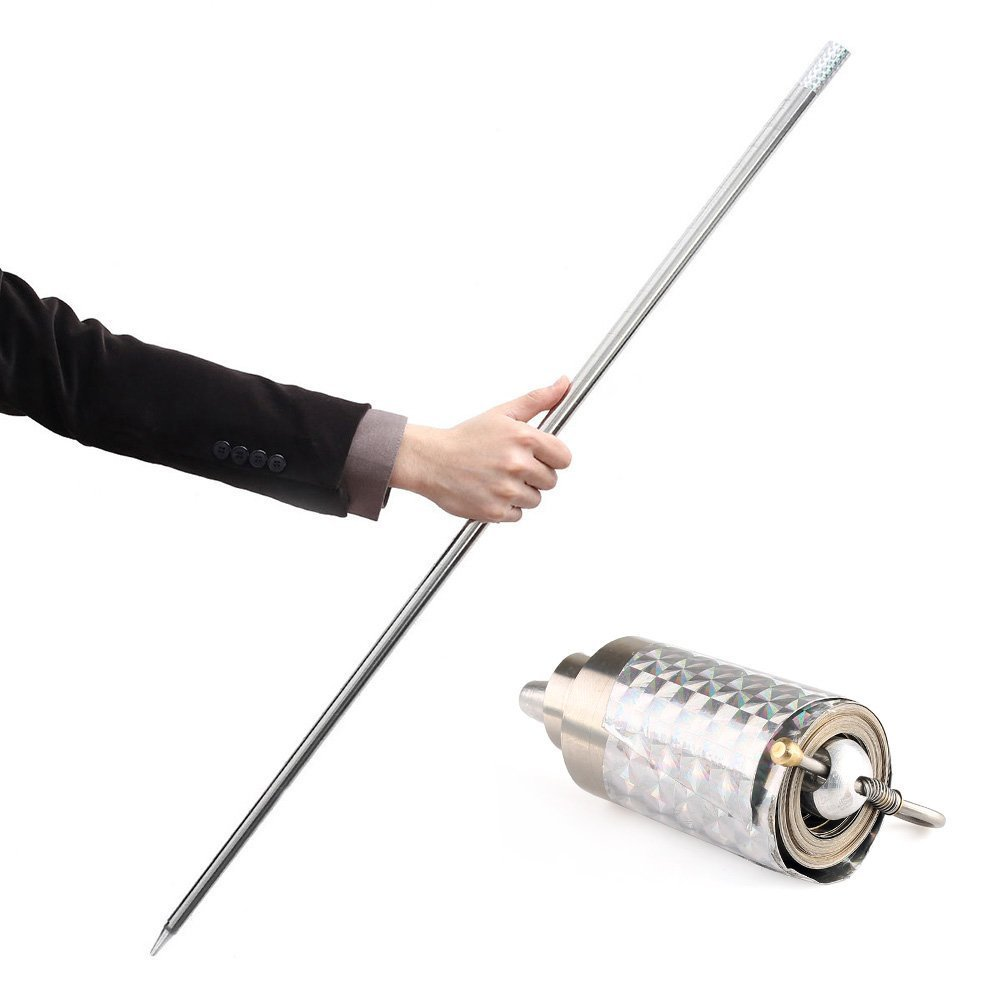 VERY100 Appearing Cane Metal Silver Magic Tricks Gimmick Close up Illusion Silk to Wand