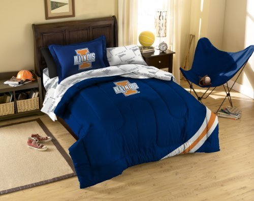 NCAA Illinois Illini Bedding Set, Twin