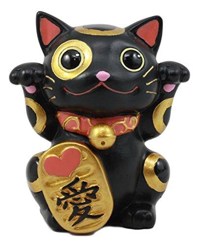 Ebros Black Maneki Neko Cat Collector Figurine Japanese Lucky Cat Charm Mao Mao Black Kitten Decorative Sculpture -
