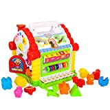 Early Education 1 Year Olds Baby Toy Multifunctional Wisdom Funny House with Music/Light/Cubic Block for Children & Kids Boys and Girls