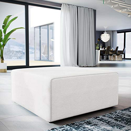 mewinshop Contemporary Modern Sofa Contemporary Modern Upholstered Fabric Sectional Sofa Ottoman in White