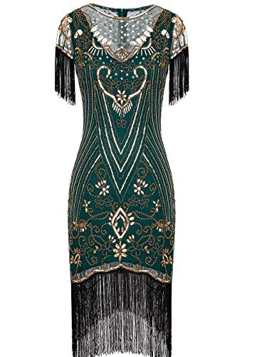 FAIRY COUPLE Women's 1920s Lace Neck Great Gatsby Dress Sequin Art Deco Flapper Dress with Sleeve D20S028 S Green Gold