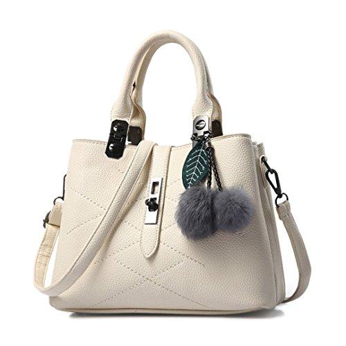 Wewod Mujeres Moda Alta Capacidad Bolso de Mensajero Bandolera de PU Cuero Bolsa de Shopping con asa y Colgante 30 x 14 x 14 cm (L*H*W) Blanco