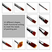 GMJF 12-Piece Nylon Hair Professional Paint Brush Set for Watercolor/Oil/Acrylic/Crafts/Rock & Face Painting