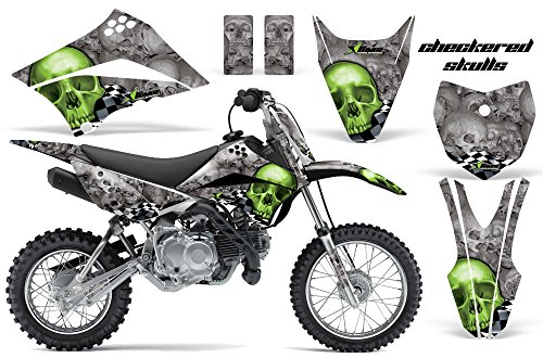 Kits Mx Sticker - Kawasaki KLX110L 2010-2018 MX Dirt Bike Graphic Kit Sticker Decals KLX 110 L CHECKERED GREEN