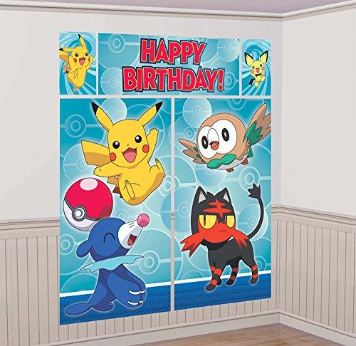 amscan Pokemon Scene Setter Wall Decorating Kit, Birthday