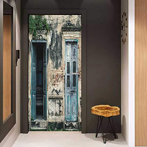 Wood Door Sticker Rustic Doors of Old Rock House with French Frame Details in Countryside European Past Theme Easy-to-Clean, Durable W30 x H80 Teal Grey