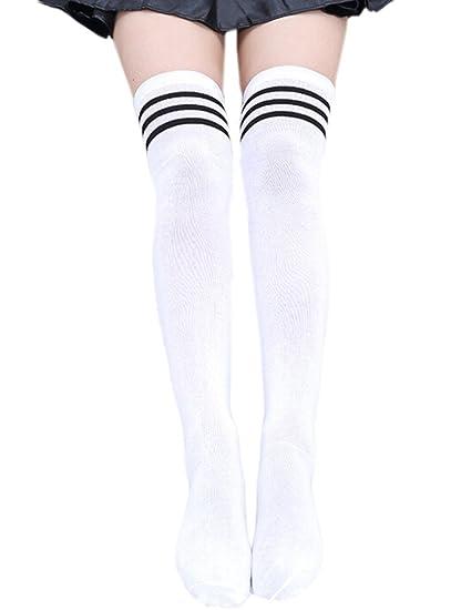 RdChicLog M/ädchen /Überknie Str/ümpfe Overknee Cheerleader College Kniestr/ümpfe Streifen Lange Socken Sportsocken
